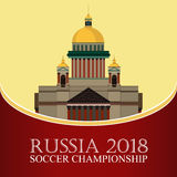 Russia 2018 World cup. Football banner. Vector flat illustration. Sport. Image of St. Isaac`s Cathedral Royalty Free Stock Photos