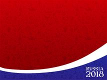 Russia 2018 World Cup frame. Illustrated red, white and blue frame, border or background with text graphics Russia 2018 Stock Photo