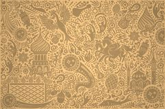 Russia World Cup Gold Pattern. Russian gold background world. Russia pattern with modern and traditional elements. 2018 trend vector illustration Royalty Free Stock Photography