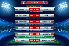Russia World Cup Group B. Football world cup championship groups. Set of four different flag illustration. Vector flag collection. 2018 soccer world tournament Royalty Free Stock Images