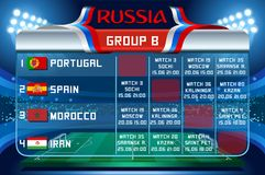 Russia world cup group b vector wallpaper. Russia World Cup 2018 footbal. Match schedule countries group B scoreboard soccer. Stadium time table background Stock Images
