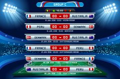 Russia World Cup Group C. Football world cup championship groups. Set of four different flag illustration. Vector flag collection. 2018 soccer world tournament Royalty Free Stock Images