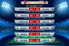Russia World Cup Group D. Football world cup championship groups. Set of four different flag illustration. Vector flag collection. 2018 soccer world tournament Stock Images