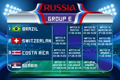 Russia world cup group e vector wallpaper. Russia World Cup 2018 footbal. Match schedule countries group E scoreboard soccer. Stadium time table background Stock Photo