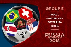 Russia World Cup Design Group E. Russia world cup 2018 group e wallpaper with russian pattern and football ball. Vector design Royalty Free Stock Photo