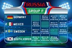 Russia world cup group f vector wallpaper. Russia World Cup 2018 footbal. Match schedule countries group F scoreboard soccer. Stadium time table background Stock Photos