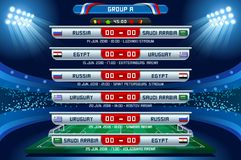 Russia World Cup Group A. Football world cup championship groups. Set of four different flag illustration. Vector flag collection. 2018 soccer world tournament Royalty Free Stock Image