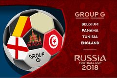 Russia World Cup Design Group G. Russia world cup 2018 group g wallpaper with russian pattern and football ball. Vector design Royalty Free Stock Photos