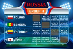 Russia world cup group h vector wallpaper. Russia World Cup 2018 footbal. Match schedule countries group H scoreboard soccer. Stadium time table background Royalty Free Stock Image