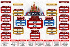 Russia World Cup Groups Schedule. Football world cup championship groups. Set of four different flag illustration. Vector flag collection. 2018 soccer world Stock Images