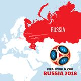 Russia world cup 2018. Illustration with map and cities of championship Stock Photography
