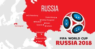 Russia world cup 2018. Illustration with map and cities of championship Royalty Free Stock Images
