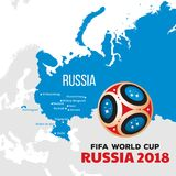 Russia world cup 2018. Illustration with map and cities of championship Royalty Free Stock Photography