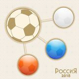 Russia world cup infographic. Russian Soccer Football World Tournament Info Graphic with Soccer Balls Coloured in White Blue and Red and Decorative Text Stock Images