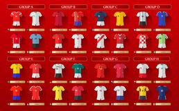 Russia World Cup Kits 2018. Russia World Cup kits for 2018 on a red background; countries are shown in lettered groups of A through H Stock Photography