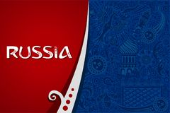Russia world cup red background. Russian red background world. Russia pattern with modern and traditional elements. 2018 trend vector illustration Stock Image