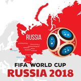 Russia world cup 2018. Illustration with map and cities of championship Stock Photo