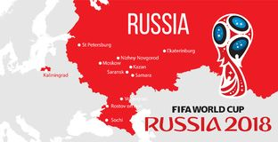 Russia world cup 2018. Vector illustration with map and cities of championship Stock Photos