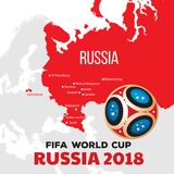Russia world cup 2018. Vector illustration with map and cities of championship Royalty Free Stock Photos