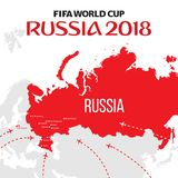 Russia world cup 2018. Vector illustration with map and cities of championship Stock Photography