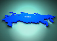 Russia of the World Map. 3D Russia map of the World Map vector illustration