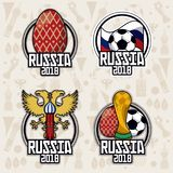 Russia 2018 world soccer. Russia 2018 set of emblems world soccer icon vector illustration graphic design Royalty Free Stock Photo