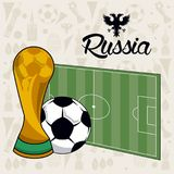 Russia 2018 world soccer. Vector illustration graphic design Stock Photos