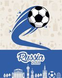 Russia 2018 world soccer. Vector illustration graphic design Stock Images