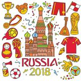 2018 Russia Worldcup. Cartoon illustration. Vector collection of various Russian elements and cultures in a doodle style. isolated over white background Royalty Free Stock Photos