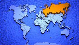russia worldmap Royaltyfri Foto