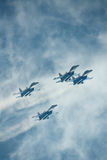 Russia. Zhukovski aviation salon. MAKS. SU-27. Fighters performing group aerobatic elements royalty free stock photos
