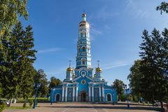 Russian сhristian church. Old christian church. Symbol of russian orthodox religion. Nativity of the Virgin Cathedral in Ufa stock photo