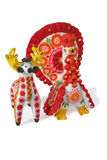 Russian. Traditional Dymkovskaya toys - a deer and a turkey cock Royalty Free Stock Image
