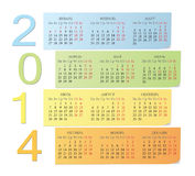 Russian 2014 color calendar Royalty Free Stock Photo