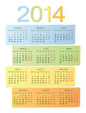 Russian 2014 color calendar. Russian 2014 year vector color bright calendar Royalty Free Stock Photography