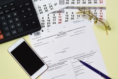 Russian accounting report is the calculation of the sums of the tax to incomes of physical persons, calculated and withheld by tax. Agent form 6-NDFL stock image