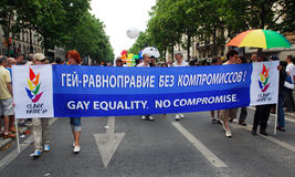 Russian activists at Paris Gay Pride 2009 Royalty Free Stock Photos