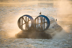 Russian ACV Hovercraft in Action on a Frosen River. Air Cushion Stock Photography