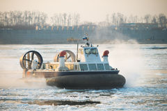 Russian ACV Hovercraft in Action on a Frosen River Royalty Free Stock Photo