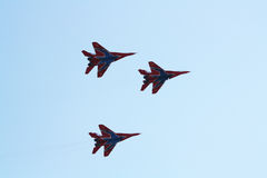 Russian aerobatic team Strizhi on MiG-29 Stock Images