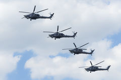 Russian Air Force Mi-28 helicopter fly over Red Square. Stock Image