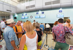 Russian air passengers in Cam Ranh airport, Vietnam Royalty Free Stock Photos