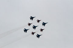 Russian aircraft at the airshow. Perform aerobatics by the russian aircraft at the airshow stock images