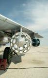 Russian aircraft mig 29 wing and gun Stock Image