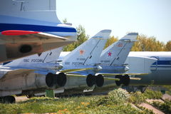 Russian airforces. Airplanes on the ground Royalty Free Stock Photo