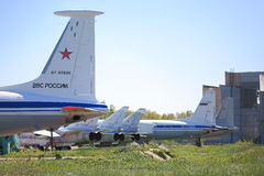 Russian airforces. Different planes on the ground Royalty Free Stock Photo