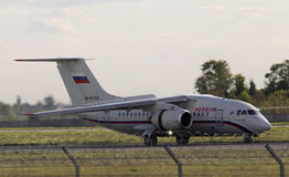 Russian Airlines An-148-100B aircraft landing on the runway Stock Image