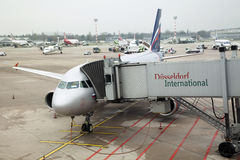 Russian airplanе in Dusseldorf airport. Russian airplanе in Dusseldorf International airport is preparing to takeoff, Germany Royalty Free Stock Image