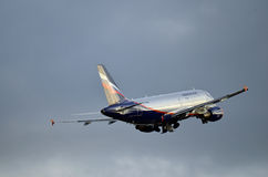 Russian airplane. Russian airlines Aeroflots airliner ready to land Royalty Free Stock Image