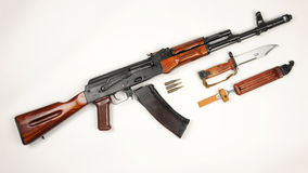 Russian AK74 assault rifle and bayonet Royalty Free Stock Photography